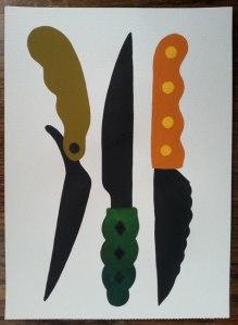 """Nano4814 """"Cuchillos"""" Gouache and acrylic. 21x 28,4 cm"""